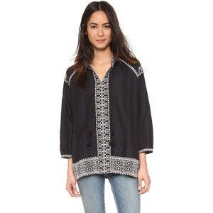 Madewell Black Embroidered Camelia Tassel Top
